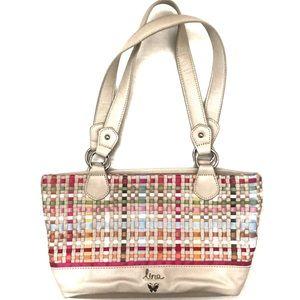 Basket Weave Shoulder Tote Bag Tan Multicolor